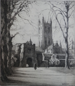 The Dark Entrance of Canterbury Cathedral from Green Park by Gyrth Russell image size 11 7/8 x 10 1/4