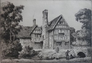 Huddington Court - etching by Stanley Anderson image size 9 3/8 x 13 1/2