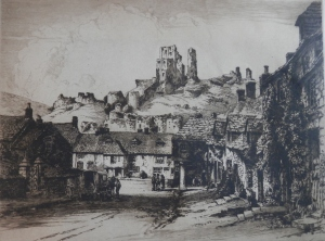 Corfe Castle - etching by Albany E Howarth image size 9 3/8 x 12 3/8