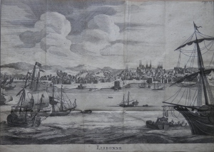 Lisbonne - City & Harbour unknown etcher image size 7 1/4 x 10 5/8